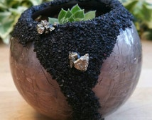 Bronze Crackle Glass Pooling Pyrite Black Sand Succulent Planter - Decorative Glass Indoor Planter - Outdoor Planter with Hen And Chicks