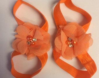 Orange barefoot sandal 0-12 months