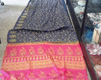 Vintage blue fuschia and gold silk sari vintage from 1980 beautiful!!!! Free shipping!!!