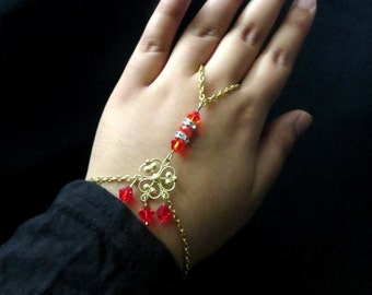 Swarovski Hand Chains / Slave Bracelets / Hand Harness / Ring Chains / Eid / Eid Gifts ~ Assorted Colors ~ The Crystal Collection
