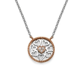 Rose Gold and Sterling Silver Most Hearted Necklace