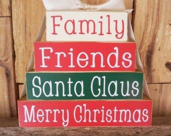 Family Friends Santa Claus Merry Christmas, Christmas, Wood Block Set, Christmas Blocks, Christmas Decoration, Holiday Decoration