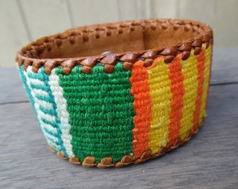 Southwest Colorful Striped Earth Tones Woven Thread Up-Cycled Leather Cuff Bracelet