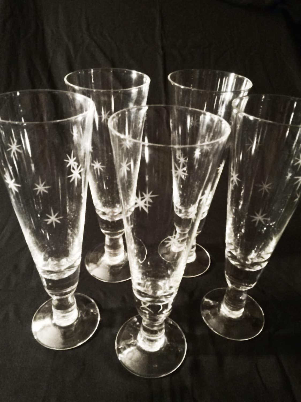 5 vintage noritake quartzex starburst atomic etched crystal - Starburst glassware ...