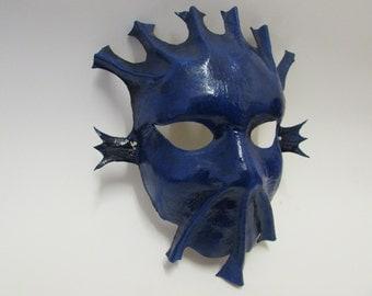 Masque de carnaval en cuir -Bleu Marine
