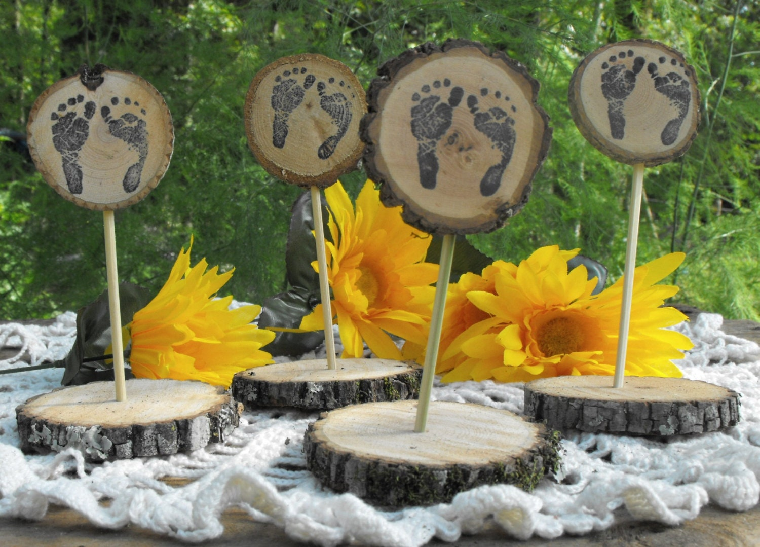 Rustic baby shower table decorations tree by ozarkcraftwood
