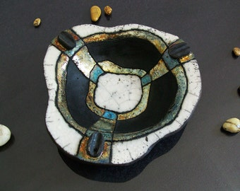 Raku pottery Dish, ceramic plate, cute ashtray, ceramic ashtray, wall dish, centerpiece dish, ceramic tray, pottery tray, decorative dish