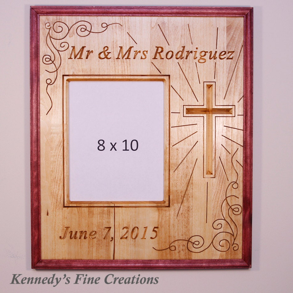 Personalized wedding engraved stained wood picture double frame personalized wedding engraved stained wood picture double frame with cross 8x10 p jeuxipadfo Gallery