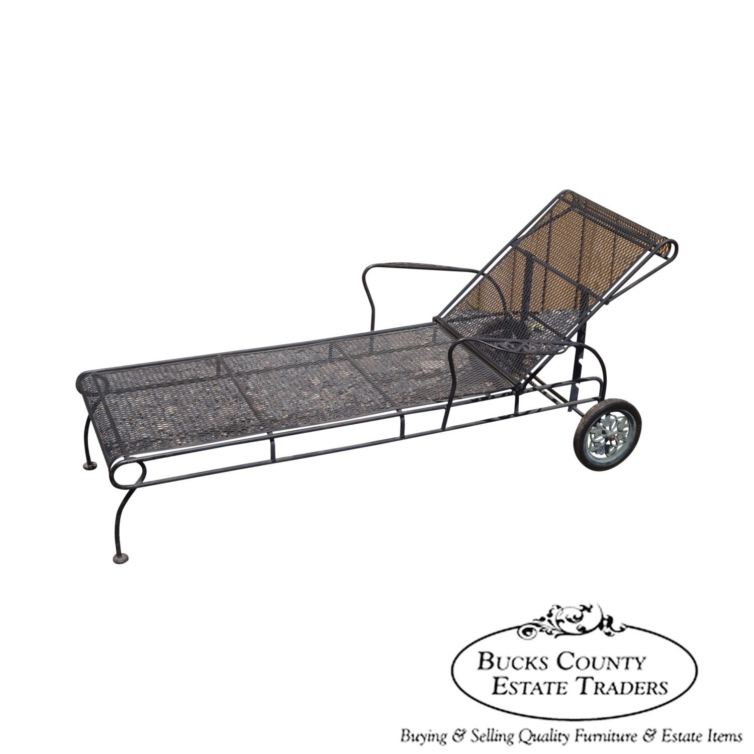 vintage expanded metal iron patio chaise by bucksestatetraders. Black Bedroom Furniture Sets. Home Design Ideas