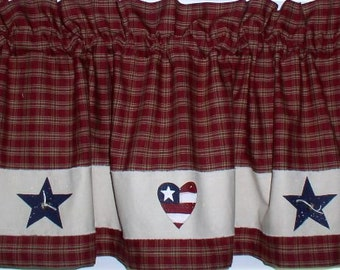 Americana Hearts And Stars Valance Berry Homespun Plaid Usa 4th Of July Kitchen Decor Cabin Primitive
