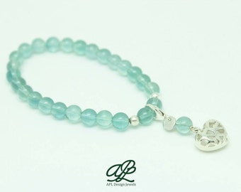 Bracelet of fluorite with silver, collection Kokoro heart