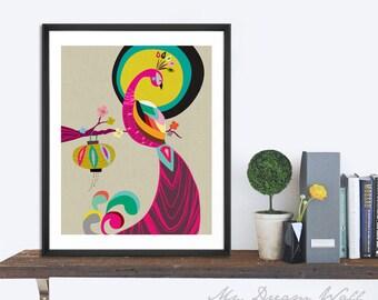 Moon night Print, bird wall art home decor inspirational art wall decor printable