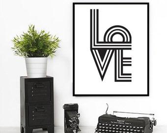 Love Print, Mid century modern, Scandinavian, Abstract art, Scandinavian print, Wall print, Modern art, Print art, Office