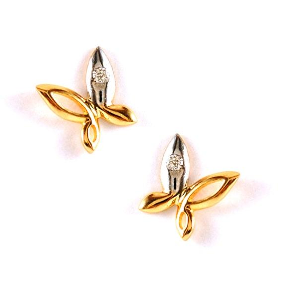 Tiny Diamond Earrings Butterfly Baby Girl Earring 14K Yellow