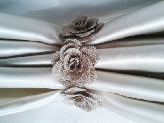 curtain tie back2pcsburlap flower curtain tie backsshabby. Black Bedroom Furniture Sets. Home Design Ideas