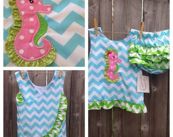 Seahorse Applique Ruffled Bloomer Set