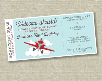 Airplane birthday invitation, airplane ticket invitation, plane ticket invitation, vintage airplane invitation, vintage airplane party