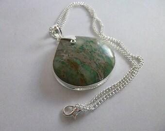 Beautiful Stone/Agate Sea Sediment Jasper Pendant, Necklace 925 Sterling silver