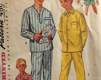 Simplicity 1434 vintage 1950's boy's pajamas sewing pattern size 10