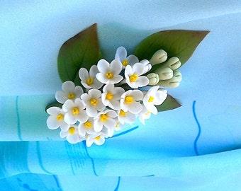 "Brooch "" White syringa""- Lilac flower brooch-Spring flower-Clay flower brooch-Floral jewelry-Porcelain flower brooch"