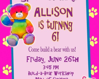 Personalized Customized Build-A-Bear Birthday Invitation - Rainbow Bear and Tiger