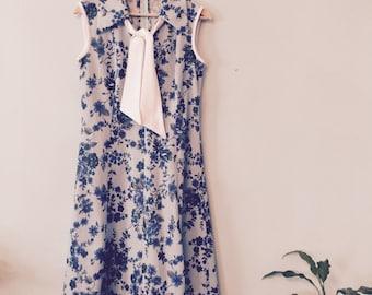70s Blue Day Dress - Vintage Sleeveless Knee Length - Size 12