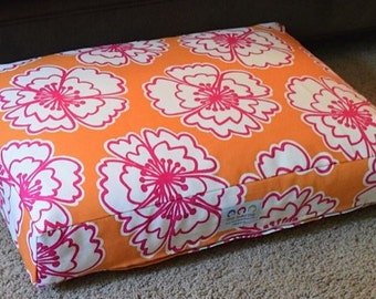 Delilah Dog Bed * Small * Lilly Inspired * Orange is the New Pink  * Custom Embroidery * Pillow Cover * Personalize * TSD