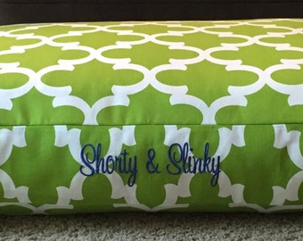 Harrison Dog Bed * Chartreuse * Small Medium * Green * Quatrefoil Collection * Custom Cover * Embroider with Pets Name * Pillow