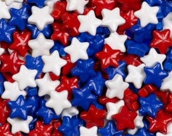 "Red White Blue Candy Stars ""Cake/Cupcake/Cookie Decorations"""
