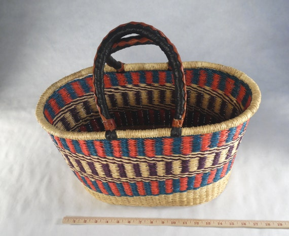 Handmade Baskets From Africa : Handmade african baskets leather handles multi color by