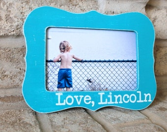 Personalized picture frame Custom Picture Frame 4X6 Picture Frame Photo Frame Gift Blue Frame Name Frame Boy Baby Gift Craft Day