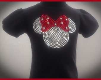 Minnie Mouse Rhinestone Bling T-Shirt. Sizes: Toddlers through girls 10/12. Available in black or white