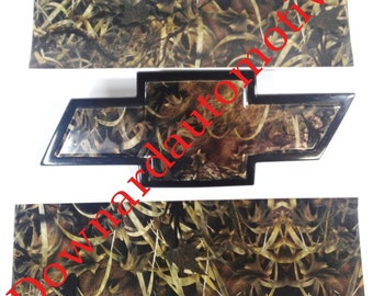 Auto Wrap Vinyl Sheets -2- U-cut Decal overlays for Chevy Bowtie Emblems Grill & Rear - Grassy Camo Print !