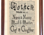 MOTHER Dictionary Print, Quote about Mother, Gift for Mother, New Mother Gift, Mother Quote Printed from old dictionary page on canvas panel