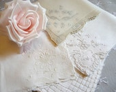 Vintage White Cream Hankies Lot of 4 for Weddings Bridal Gift Favors Bridesmaids Linen Embroidered Drawn Work