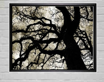 Large Black and White Modern Wall art - Tree Wall Decor - Black and White Wall Art - Industrial Wall Decor - Contemporary Wall Decor