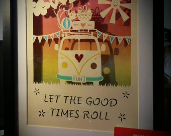 Framed campervan papercut - Let the Good Times Roll