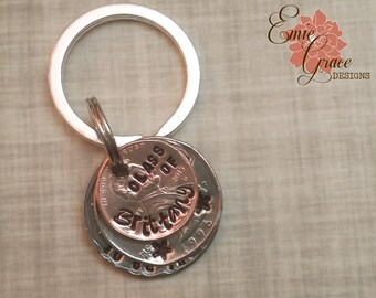 "Coin Key Chain, Graduation Gift, Class of 2017, ""You Were Born to Be the Change"", Personalized with Name, Hand Stamped, Key Ring"