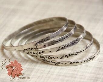Sterling Silver Stamped Bangle, Message Bracelet, Hand Stamped Names, Personalized, Grandmas Bracelet,  Mom's Bracelet