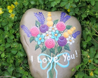 I Love You Painted Rock, bouquet of flowers stone, floral painted garden rock with bow and I love you