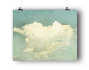 Cloud Print, Valentines Gift, Sky Photo, Heart Shaped, Cloud Photography, Pale Blue, Wall Art, Nursery Decor, Whimsical Art, 8 x 10 Print