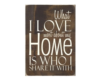 Wood Wall Word Art Rustic Sign Home Decor - What I Love Most About My Home is Who I Share it With (#1096)