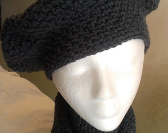 Charcoal Heather Grey Tan Hat and Scarf