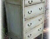 SOLD! SOLD! Distressed Antique dresser, shabby chic dresser, off white dresser, dresser, Rustic dresser, dresser, painted dresser