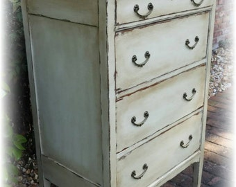 SOLD! SOLD! Distressed Antique dresser, shabby chic dresser, off white dresser, dresser, Rustic dresser, dresser, painted dresser