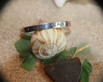 "I Love Seaglass Cuff Bracelet aluminum engraved 1/4"" x 6"" Personalized"