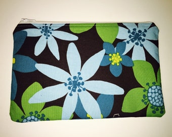 Green and blue floral zippered pouch
