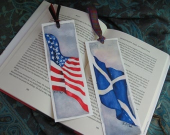 Scottish Saltire And American Stars & Stripes Flag Bookmark in Watercolor