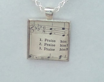 Praise him / sheet music - glass pendant necklace