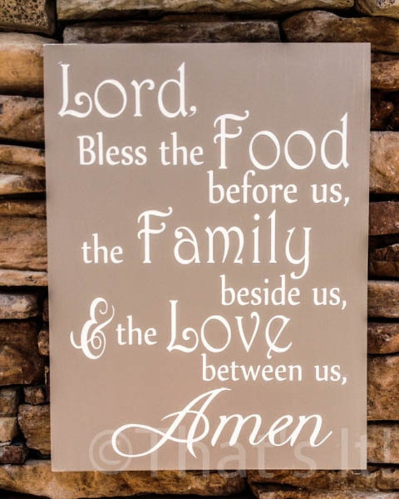 Bless The Food Before Us Prayer Hand Painted By ThatsItforLess